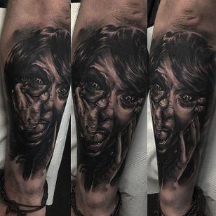 Black and grey horror realism piece by Edgar Ivanov. #blackandgrey #realism #EdgarIvanov #horror #face #boy