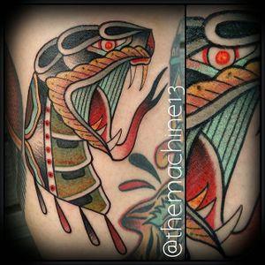 Snake Tattoo by Zack Taylor #SnakeHead #TraditionalTattoos #TraditionalTattoo #OldSchool #OldSchoolTattoos #Traditional #ZackTaylor