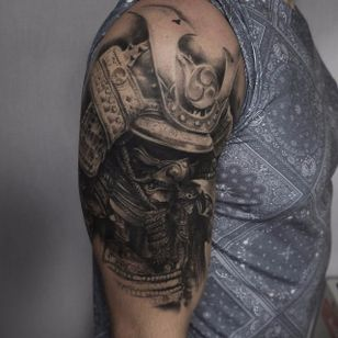 Samurai Tattoo by Edgar Ivanov #Samurai #BlackandGrey #BlackandGreyRealism #BlackandGreyTattoos #PortraitTattoos #Realism #EdgarIvanov
