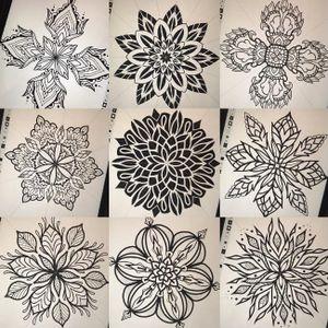 Flower mandala tattoo designs by Ian Atkinson #ianatkinson #mandala #dotwork #flower #mandalaflower