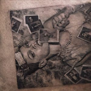 Bad girl Riri by Niki23gtr #Niki23gtr #blackandgrey #realism #realistic #hyperrealism #portrait #musictattoo #badgirl #Rihanna #music #photos #jewelry #crown #tattoooftheday