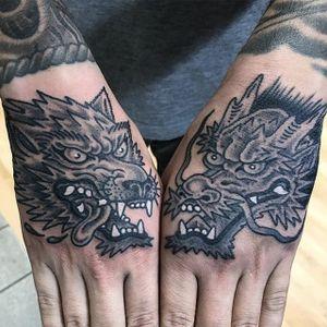 Hand pieces by Marc Nava #MarcNava #traditional #blackandgrey #wolf #dragon #tattoooftheday