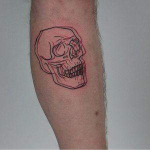 Overlay skull tattoo by Nick Avgeris. #NickAvgeris #alternative #contemporary #overlay #skull