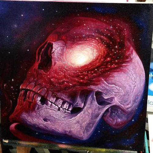 A painting of a skull with a galaxy in its cranium by Christian Perez (IG—christian1perez). #ChristianPerez #fineart #galaxy #oilpaintings #skulls