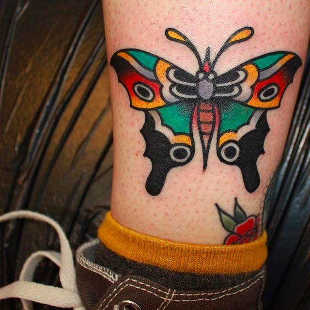 Rad butterfly tattoo on the ankle, tattoo done by CP Martin. #CPMartin #thedarlingparlour #sydney #traditionaltattoos #butterfly