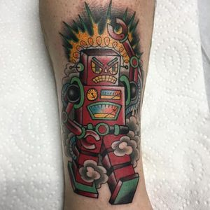 Angry! (via IG - bobthetattooer) #Robot #RobotTattoo #RobotTattoos