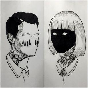 Man and Woman by Daniel Teixeria (via IG-daniel_kickflip_tattooer) #surreal #dark #linework #flash #flashfriday #DanielTeixeira