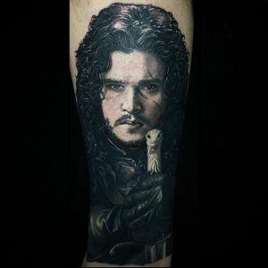 Jon Snow Tattoo by Carlos Rojas #Carlosrojas #jonsnowtattoo #gameofthronestattoo #winteriscoming