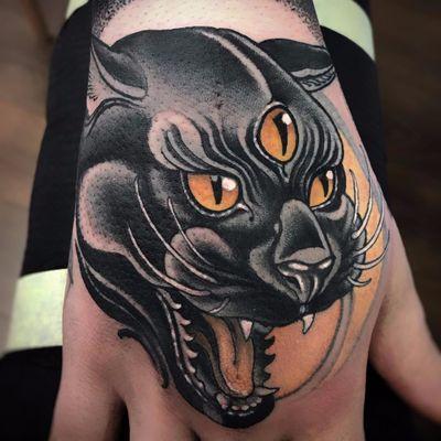 Third Eye Panther by Vale Lovette #ValeLovette #color #blackandgrey #neotraditional #panther #junglecat #wildlife #animal #cat #thirdeye #eyes #fur #tattoooftheday
