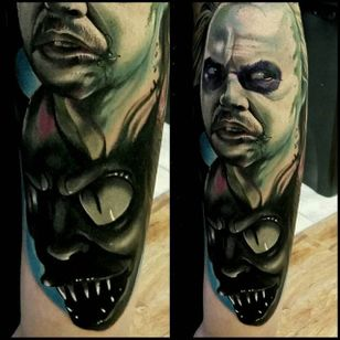 Beetlejuice Tattoo by Christopher Bettley #Beetlejuice #Portrait #PortraitTattoos #ColorPortraits #PortraitRealism #ChristopherBettley