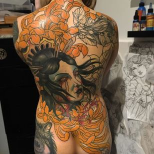 Namakubi Back Tattoo by Jake Danielson #namakubi #namakubitattoo #neotraditional #neotraditionaltattoo #neotraditionaltattoos #neotraditionalartist #JakeDanielson