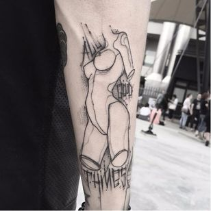 Graphic tattoo by Matteo Gallo #MatteoGallo #trashstyle #graphic #blackwork #sketch #abstract