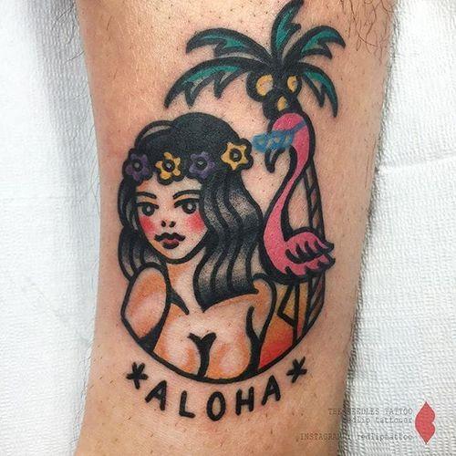 Hawaiian tattoo by Redlip Tattooer. #RedlipTattooer #Redlip #traditional #bold #hawaiiangirl #aloha #hawaii