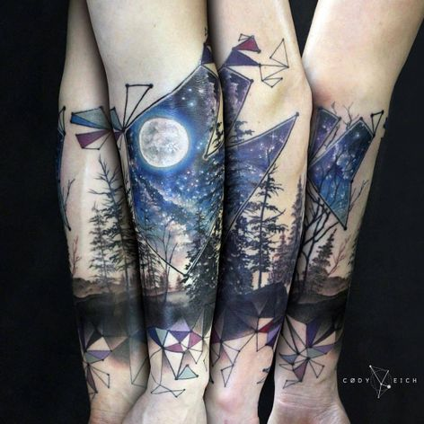 Noite na floresta #CodyEich #gringo #surrealism #surrealismo #graphic #grafico #geometric #geometrica #fullcolor #colorido #nature #natureza #noite #night #lua #moon #sky #ceu #arvore #tree #star #estrela