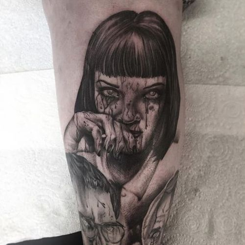 Gory Mia Wallace tattoo by Kerry Gentle. #KerryGentle #blackandgrey #gore #MiaWallace #femmefatale #classic #pulpfiction #cultfilm #film #movie #QuentinTarantino #moviecharacter #femmefatale #portrait