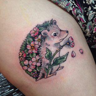 Hedgehog tattoo by Harriet. #hedgehog #animal #flower