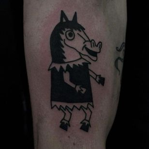 Silly Horse Tattoo by Jack Watts @Tattoosforyourenemies #Tattoosforyourenemies #sangbleu #london #black #blackwork #traditional #Horse
