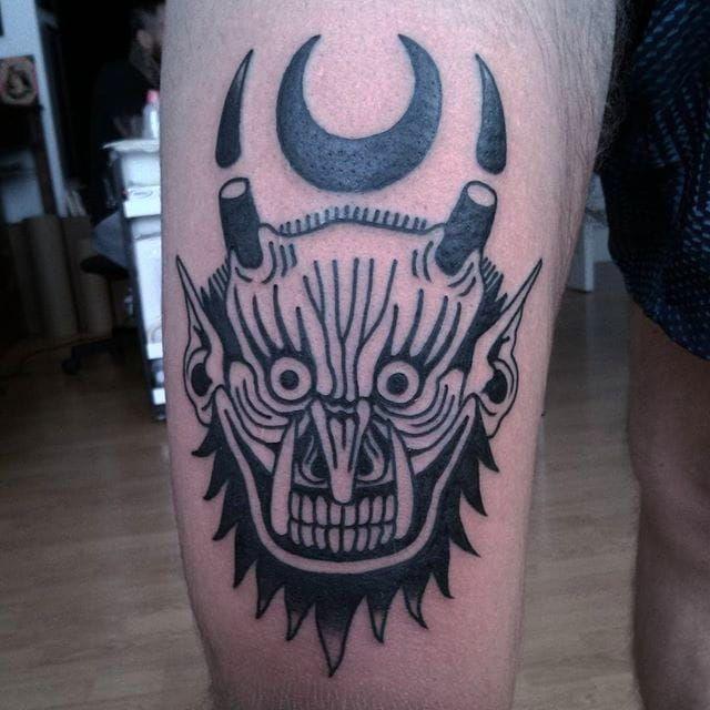 Demon head and crescent, awesome black tattoo by El Carlo. #ElCarlo #ElCarloTattoos #boldtattoos #surreal #demon #demonhead #demon #moon