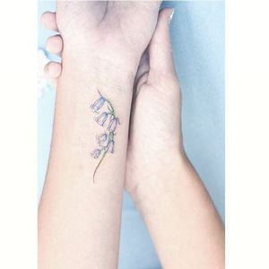 Tiny Bluebells by Mini Lau (via IG-hktattoo_mini) #feminine #flower #microtattoo #soft #delicate #mini #MiniLau