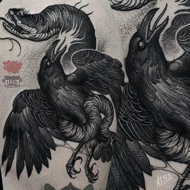 Snake and Crow Tattoo by Alex Underwood #snake #crow #blackworksnake #blackworkcrow #blackwork #blackworktattoo #blackworktattoos #blacktattoos #blackink #blackworkartists #AlexUnderwood