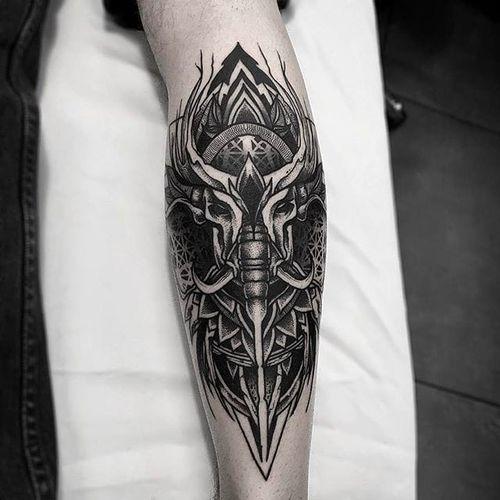 Black Geometry Elephant skull Tattoo by Otheser @Otheser_stc #Otheser #SakeTattooCrew #Athens #Black #Geometry #Geometric #Dotwork #Animal #Skull
