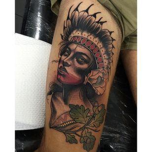 Tattoo by Tim Tavaria #neotraditional #realism #neotraditionalrealism #TimTavaria #indian #girl