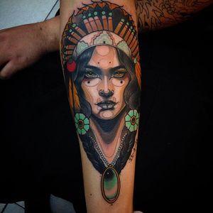 Native lady by Jeff Snow. #neotraditional #native #headdress #nativelady #JeffSnow