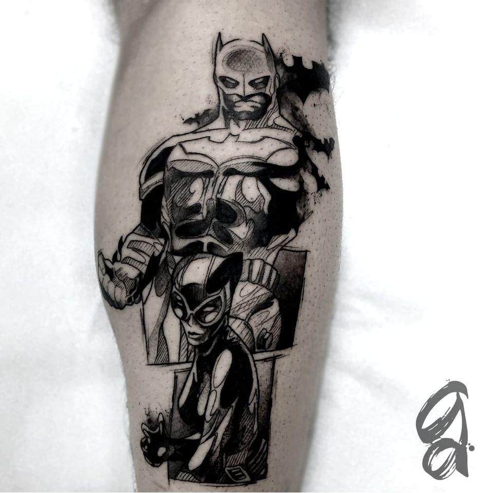 Batman! #GustavoAbreu #blackwork #fineline #sketch #TatuadoresDoBrasil #batman #comics #quadrinhos #hds #nerd #geek