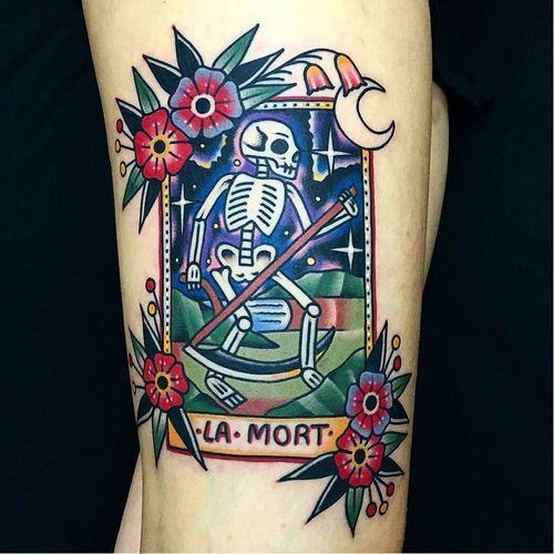 Death card by Dani Queipo #tarot #DaniQueipo #tarotcard #cards #skeleton #death #reaper