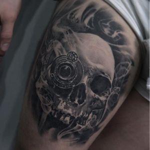 Skull Tattoo by Edgar Ivanov #Skull #BlackandGrey #BlackandGreyRealism #BlackandGreyTattoos #PortraitTattoos #Realism #EdgarIvanov