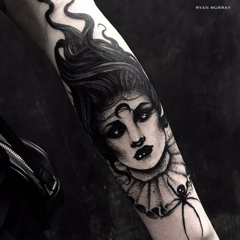 Blackwork hollow-eyed woman tattoo by Ryan Murray. #RyanMurray #blackwork #dark #macabre #blackveilstudio #woman #victorian