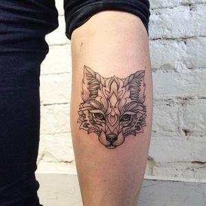 Fox tattoo by Ira Shmarinova #linework #dotwork #fox #blackwork #animal #portrait #IraShmarinova