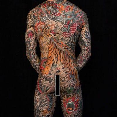 Bodysuit by Chris Garver #ChrisGarver #color #japanese #tiger #dragon #wave #thunder #tattoooftheday