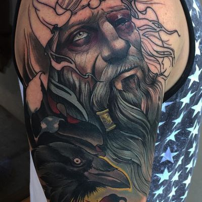 A neo-traditional depiction of Odin by Eddie Stacey (IG—eddiestacey). #AmericanGods #EddieStacey #neotraditional #Odin