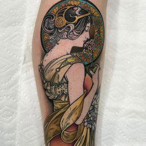 Alphonse Mucha tattoo by David Mushaney #davidmushaney #ArtNouveautattoo #color #neotraditional #ornamental #lady #portrait #flowers #floral #stainedglass #AlphonseMucha