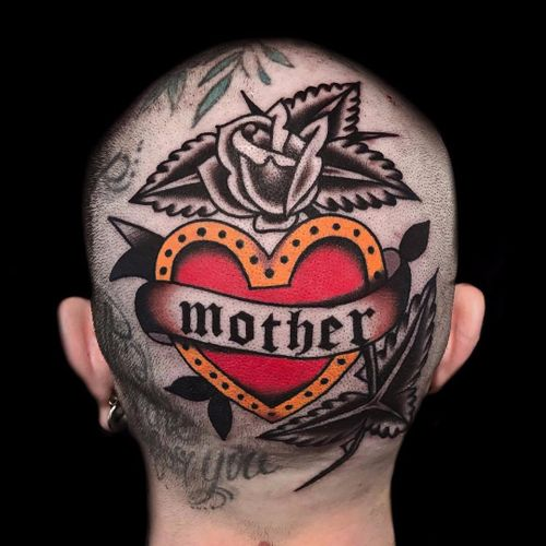 Sorry Mom by Austin Maples #austinmaples #color #traditional #rose #momtattoo #mother #heart #banner #leaves #text #valentine #tattoooftheday