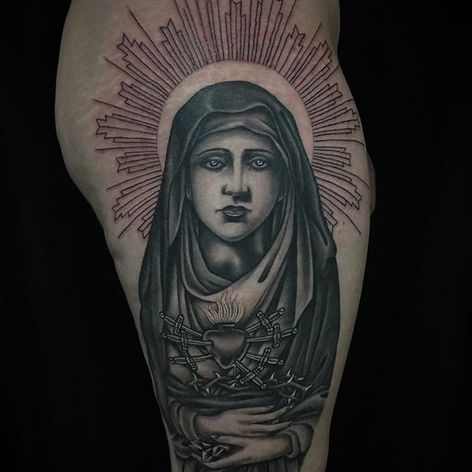 Black & grey religious tattoo made by Javier Betancourt. (IG- javierbetancourt) #blackandgrey #religioustattoo #OchoPlacas #JavierBetancourt