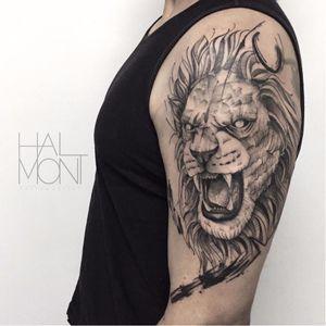 Por Lucas Halmont #LucasHalmont #brasil #brazil #brazilianartist #tatuadoresdobrasil #blackwork #leao #lion