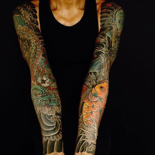 Japanese Sleeve Tattoo by Damien Rodriguez #Japanesetattoo #Japanese #AsianTattoos #DamienRodriguez