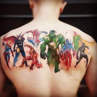 Todos juntos #RussellVanSchaick #GuerraInfinita #InfinityWar #Avengers #Vingadores #Marvel #comic #nerd #geek #cartoon #hq #movie #filme #watercolor #aquarela #colorido #colorful