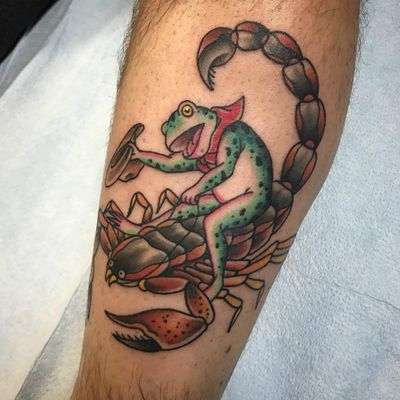 Ole Frog Wayne on a Pasadena jumping scorpion. Scorpion tattoo by Chelcie Dieterle #ChelcieDieterie #scorpion #traditional #frog