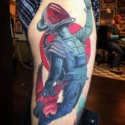 Ground Control to Major Tom by Jacob Wiman #JacobWiman #color #newtraditional #spaceman #space #astronaut #wings #spacesuit #galaxy #portrait #tattoooftheday