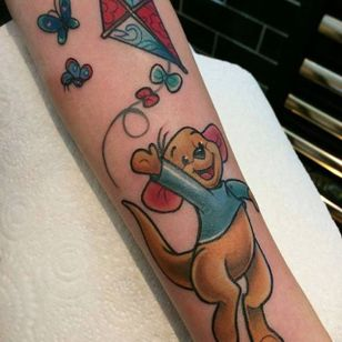 'Winnie the Pooh' tattoo by Abbie Williams. #AbbieWilliams #kangaroo #baby #winniethepooh #pooh #poohbear #nostalgia #children #tvshow #cartoon #book