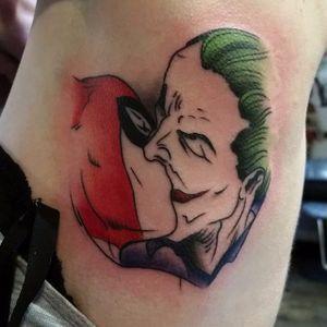 Joker and Harley Quinn Tattoo, artist unknown #Joker #HarleyQuinn #JokerandHarley #JokerTattoo #HarleyQuinnTattoo #Batman #ComicCouples #ComicTattoo #DC