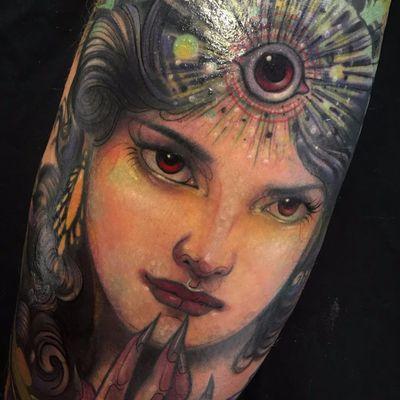 Third Eye Lady by Aimee Cornwell #AimeeCornwell #color #neotraditional #portrait #thirdeye #ladyhead #lady #eyes #deity #demon #witch #light #jewelry #face #tattoooftheday