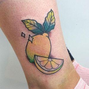 Traditional style lemon tattoo by Hannah Eaton. #traditional #lemon #citrus #HannahEaton