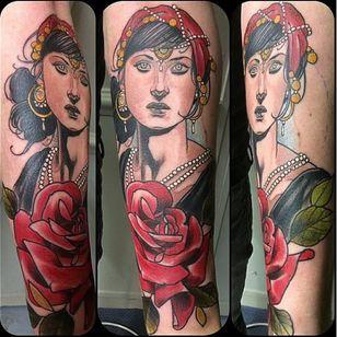 Lovely tattoo by Jurgen Eckel #JurgenEckel #neotraditional #lady