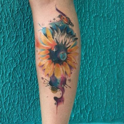 #ArthurOliveira #watercolor #aquarela #tatuadoresdobrasil #brasil #brazil #colorido #colorful #flor #flower #sunflower #girassol #planet #planeta #saturno #saturn #galaxy #galaxia #terra #earth