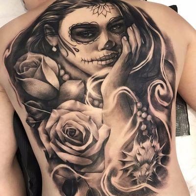 Dia de los Muertos backpiece by Antonio Macko Todisco #AntonioMackoTodisco #diadelosmuertos #dayofthedead #girl #lady #skull #roses #dragon #smoke #blackandgrey #blackwork #hand #portrait #tattoooftheday