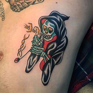 A dope smoking reaper by Ian Wiedrick (IG—ianwtattoo). #Death #GrimReaper #IanWiedrick #reaper #traditional #weed
